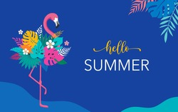Summer background and concept design, Pink flamingo with jungle exotic leaves and parrot. Hello summer background and banner