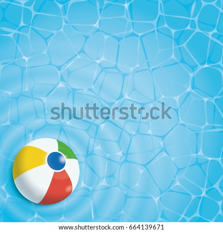 Summer background. Beach ball in a swimming pool, top view