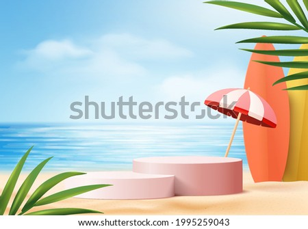 summer background 3d product display platform scene with surfboard platform. sky cloud summer background vector 3d render on the ocean display. podium on sand beach cosmetic product display stand