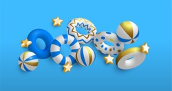 Summer background of 3D life savers, stars and beach balls in luxury gold colors. Elegant pool party invitation or summertime season event concept.