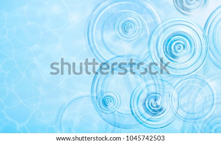 Summer background. Radial waves from a rain on water. Texture of water surface. Overhead view. Circles and rings on the puddle. Vector illustration nature background