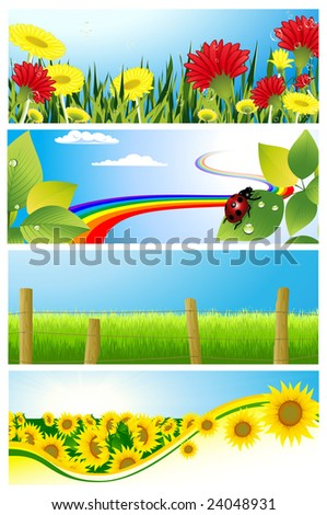 Summer background set, vector illustration, EPS file included - stock vector