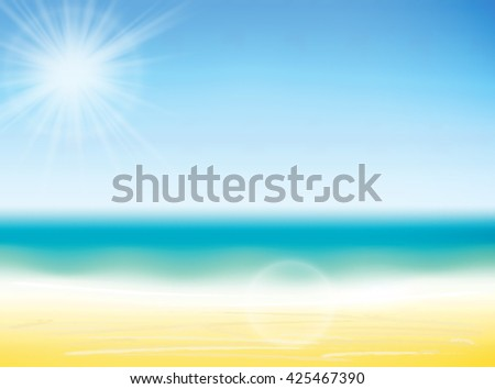 Summer background vector illustration. Blurred summer beach, sun, sky, sea, ocean and sand. Summer landscape for background and wallpaper.