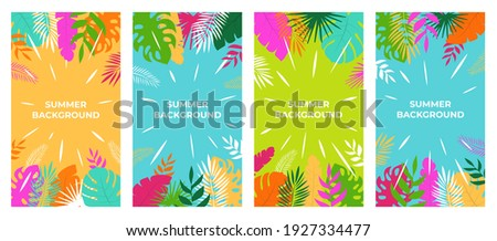 Summer background Vector summer plant design for social media stories. Summer background in flat style
