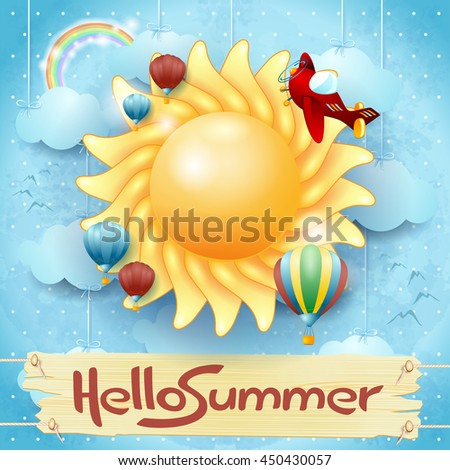 Summer background with big sun and message, vector illustration