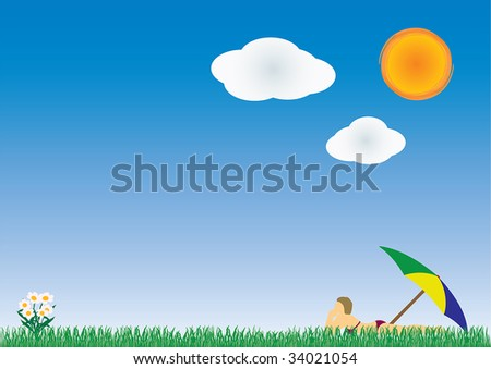 Summer background with blue sky, a hot sun, flowers and a woman taking a sunbath in the nice weather. Copy-space on the left side.