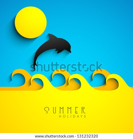 Summer background with fish jumping out from water.
