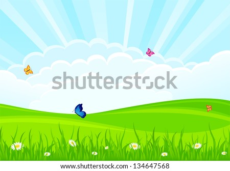 Summer background with flowers and butterflies, illustration.