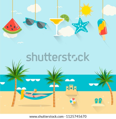 Summer background with girl tanning in the sun, relaxing in hammock and reading a book and hanging summertime icons set, vector illustration in flat design style