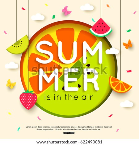 Summer background with hanging fruit, berry, paper butterfly, clouds. vector illustration