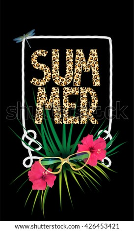 summer background with leopard
