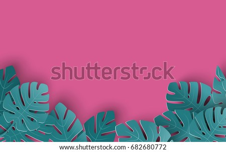 Summer background with paper cut out tropical leaves, exotic floral design for banner, flyer, invitation, poster, web site or greeting card. Paper cut style, vector illustration