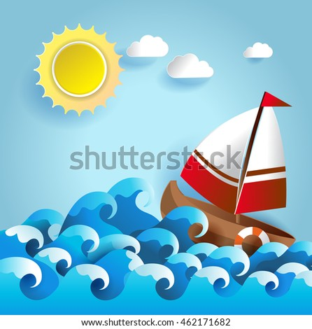 summer background with sailboat