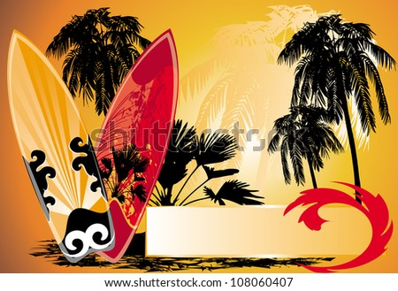summer background with surfboard and palm-trees - stock vector