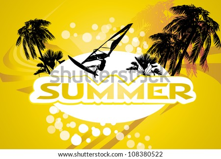 summer background with surfer and palm-trees