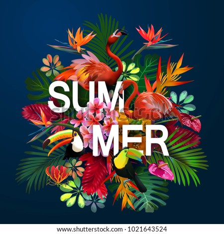summer background with tropical birds and flowers for travel, vacation design.Isolated on a blue background.Elegant floral vector composition. A print for a tshirt. Tropical flowers