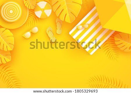 Summer background with umbrella, ball, glasses, sandals, juice and yellow leaves. Summer background in paper craft style. paper cut and craft style. vector.