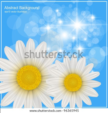Summer background with white flowers, vector.