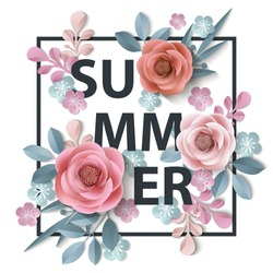 Summer background withr, abstract paper flowers, floral background, blank round frame, greeting card template.Template Vector.
