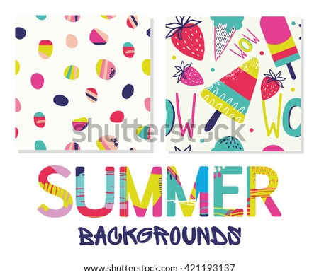 Summer backgrounds patterns in vector.