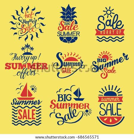 Summer badge logo seasonal sale hot offer shop vector. #686565571