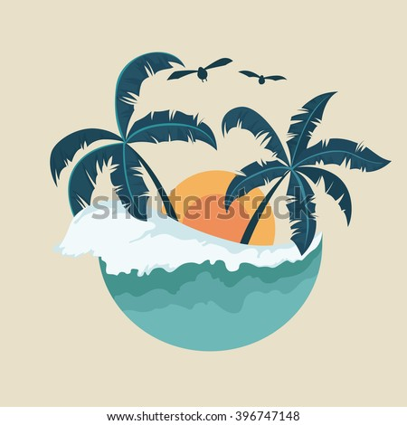 summer badge with wave palm
