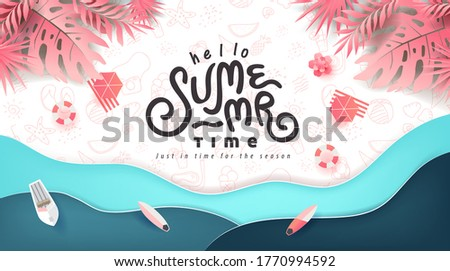 Summer banner design with paper cut tropical beach bright Color background.Paper art concept.