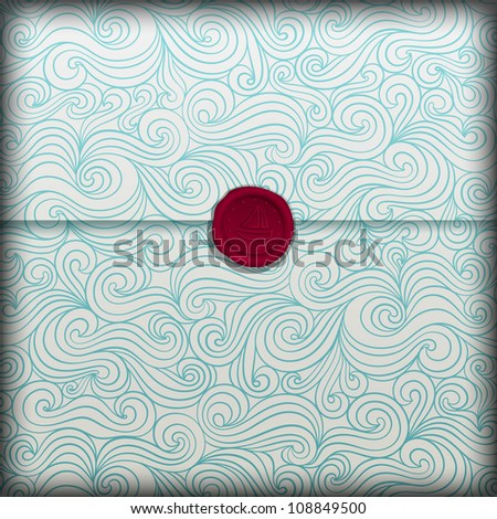Summer banner, fancy sea paper with wax seal, eps10 illustration