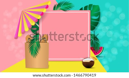 Summer banner layout for mobile and social media, poster, shopping ads, marketing material. Summer sale special offer background with empty space for your test. Ad concept. Vector illustration