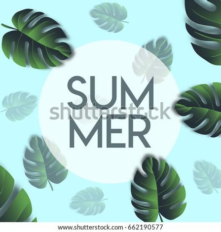 summer banner template leaf