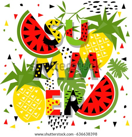 Summer banner with watermelon and pineapple, place for text. Trendy seasonal vector background, brochure template.