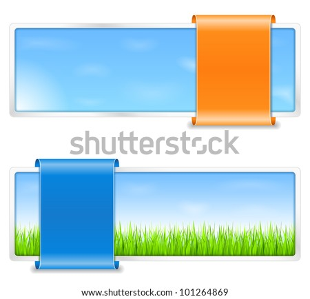 Summer banners with green grass and blue sky, vector eps10 illustration