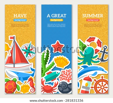 summer banners with marine