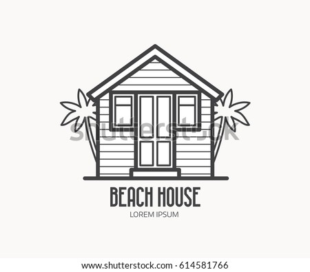 Summer Bath House Vector Illustration Beach Logo Or Label Template In Linear Style