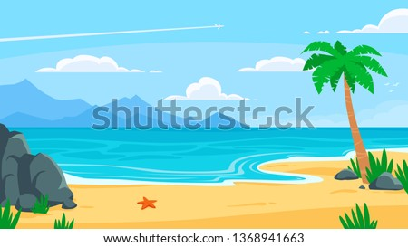 Summer beach background. Sandy seashore, sea coast with palm tree and vocation seaside travel. Heaven island, tropical ocean paradise view. Vector cartoon backdrop illustration