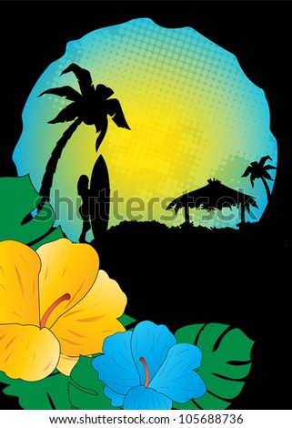 summer beach  background,tropical vector advertising