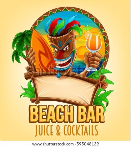 summer beach bar illustration