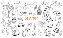 Summer beach cute doodle hand drawn vector illustrations