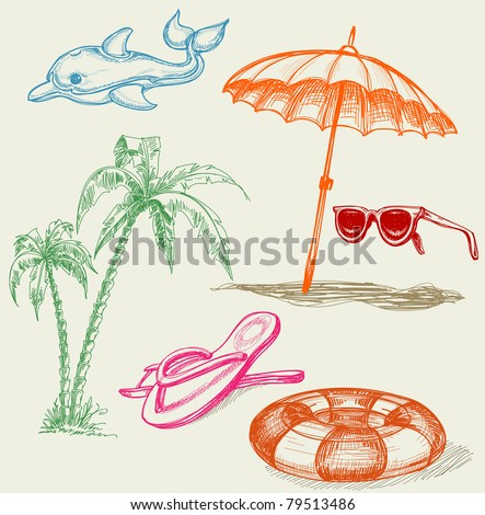 Summer beach holiday items: inflatable dolphin, life buoy, umbrella, sunglasses, palm trees and slippers