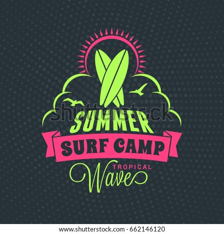 Summer beach holidays poster. Typography retro style label. Vector illustration with green and pink colors on dark dotted background