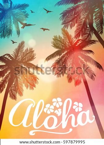 summer beach illustration aloha