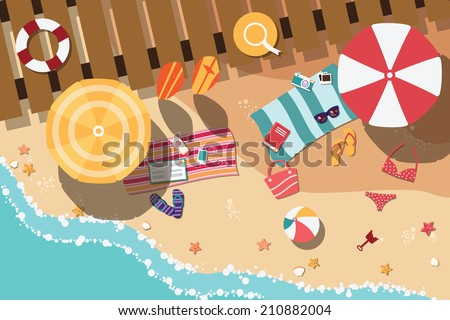 summer beach in flat design