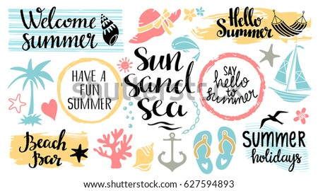 summer beach logo  icons  signs