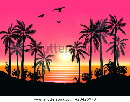 Summer Beach Night Palm Silhouettes On Sunset With Beautiful Sky Background Tropical