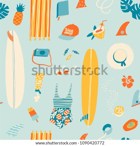 Summer beach objects seamless pattern in vector. Summertime illustration.