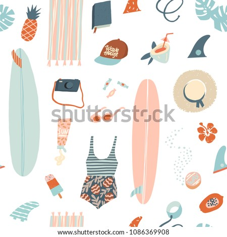 summer beach objects seamless
