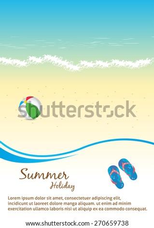 Summer Beach Party Flyer Vector Template.