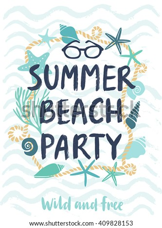 Summer beach party hand drawn calligraphyc card. Vector illustration.
