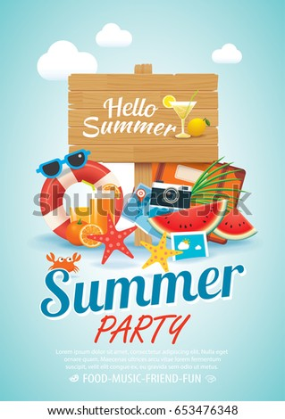 summer beach party invitation poster background elements and wooden sign in A4 size.