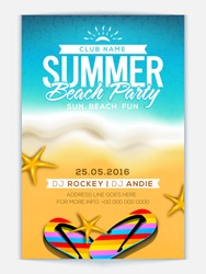 Summer Beach Party Template, Banner or Flyer design with illustration of colorful flip flop slippers and starfish on glossy background.